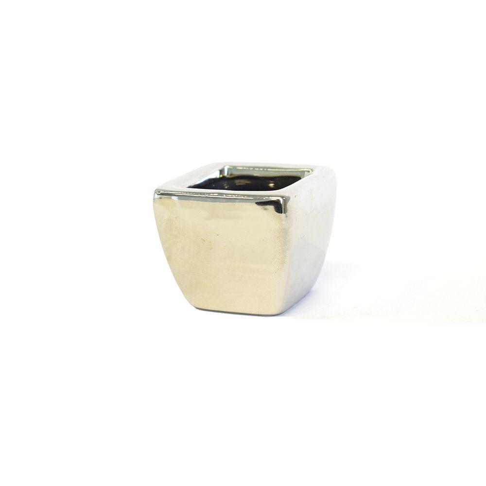 Mini Vaso de Cerâmica Prateado para Suculentas