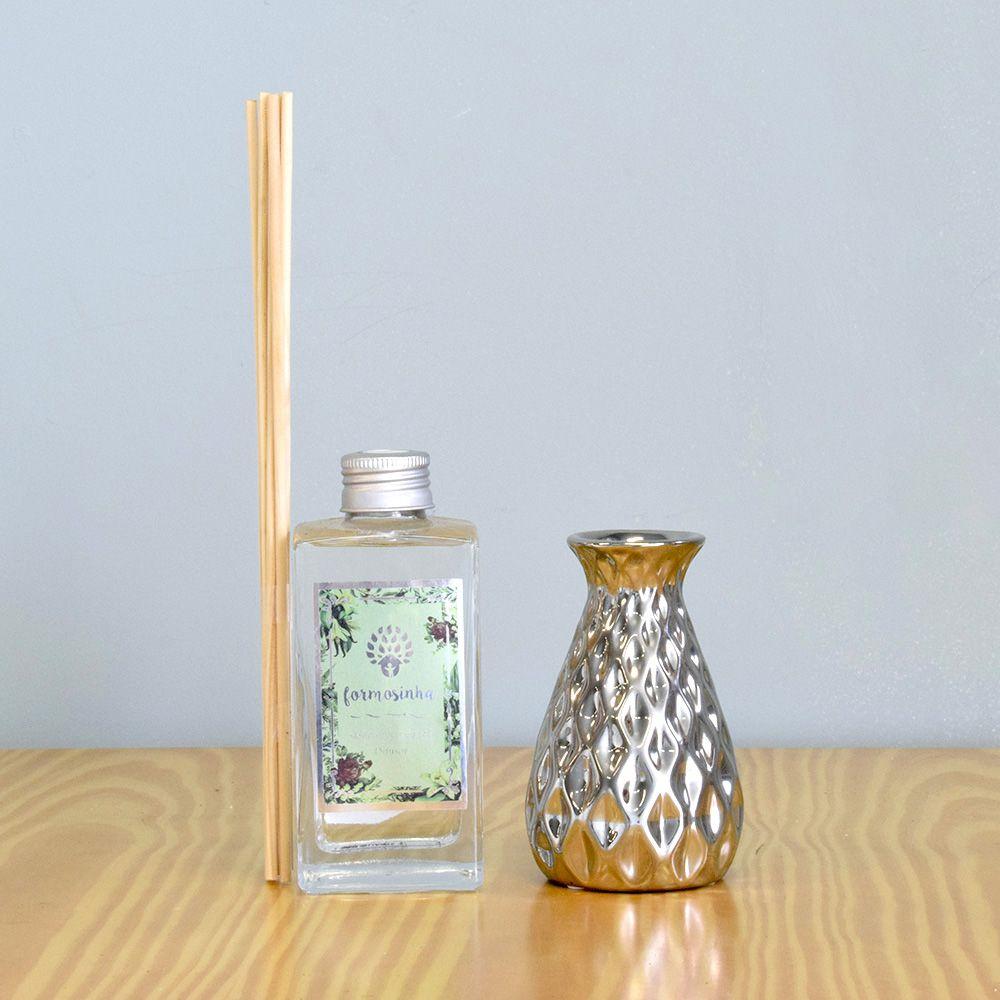 Mini Vaso Solitário de Cerâmica Prateado | Linha Decoração Formosinha