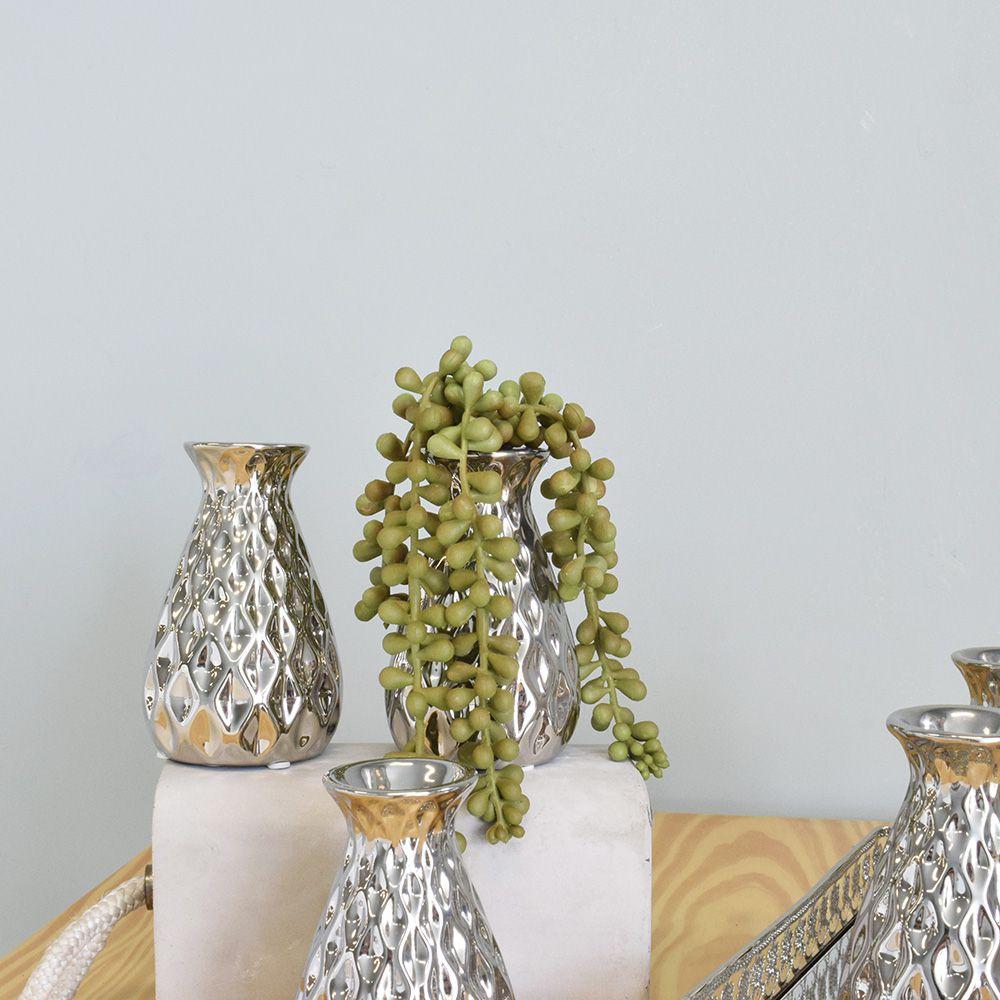 Mini Vaso de Flores Solitário de Cerâmica Prateado | Linha Decoração Formosinha