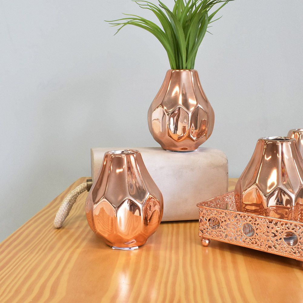 Mini Vaso de Flores Solitário de Cerâmica Rose Gold | Linha Decoração Formosinha
