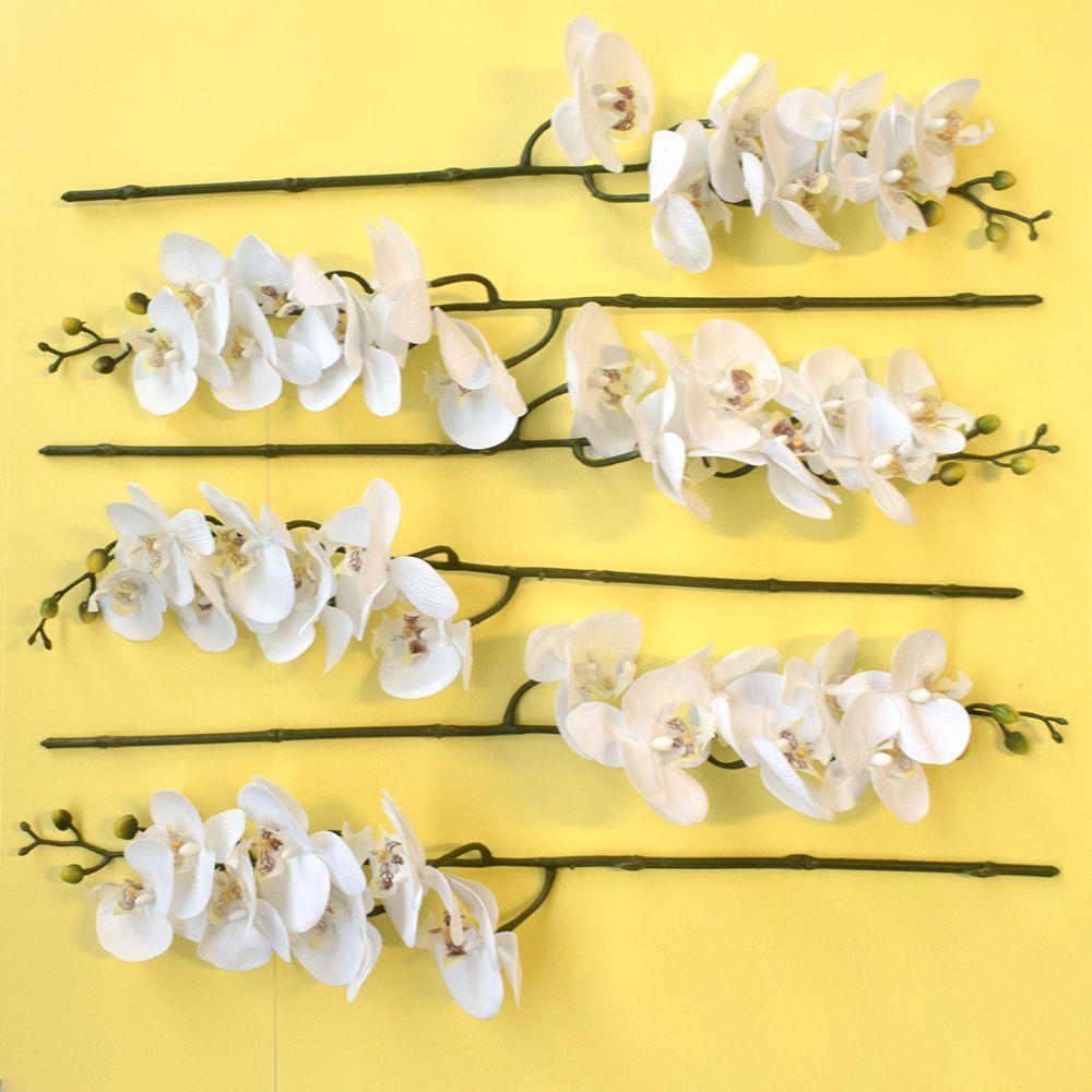 Flores Artificiais Kit com 6 Orquídeas de Silicone Brancas para Atacado