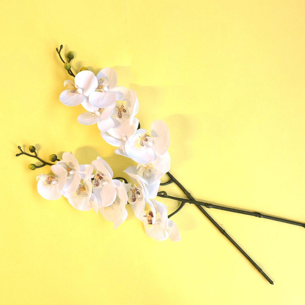Kit 24 Unidades Atacado Orquídea Artificial Phalaenopsis Branca Silicone 63 cm  | Formosinha