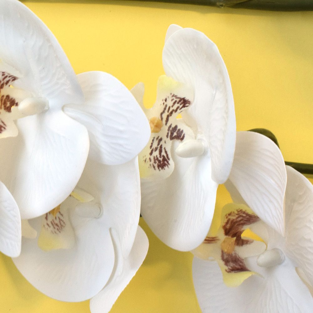 Kit 24 Flores Artificiais Haste de Orquídea Toque Real Branca | Atacado