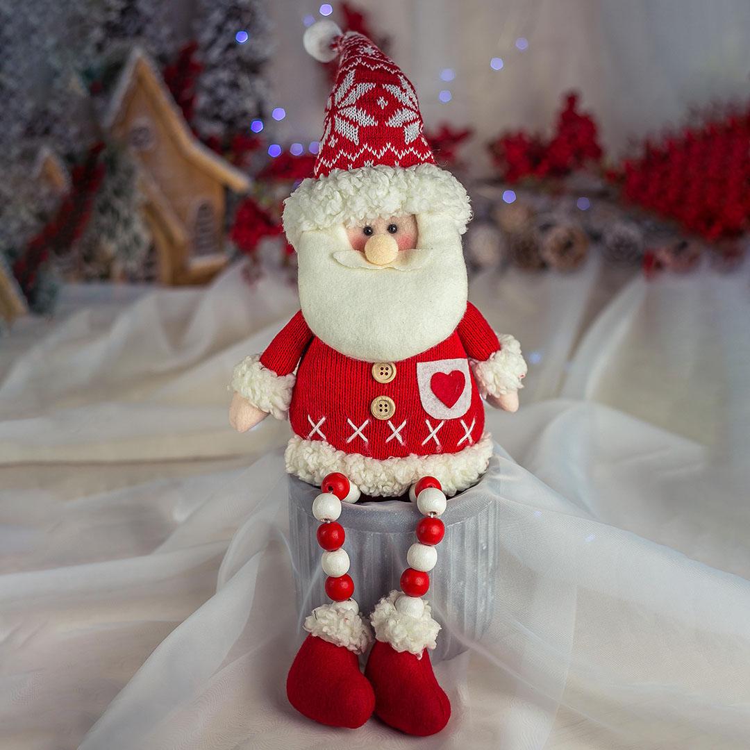 Papai Noel Com Pernas de Miçangas 38cm | Natal Formosinha