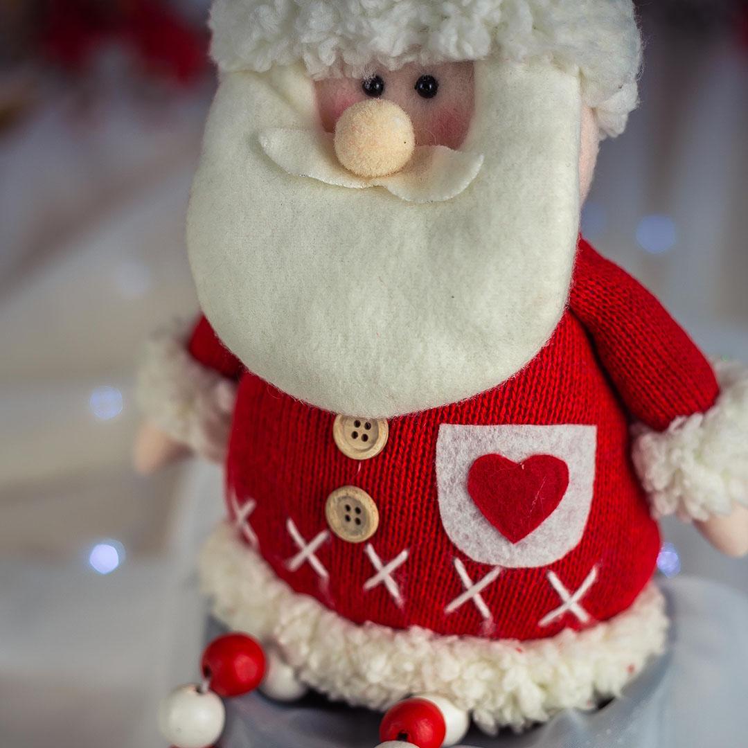Papai Noel Com Pernas de Miçangas 38cm   Natal Formosinha