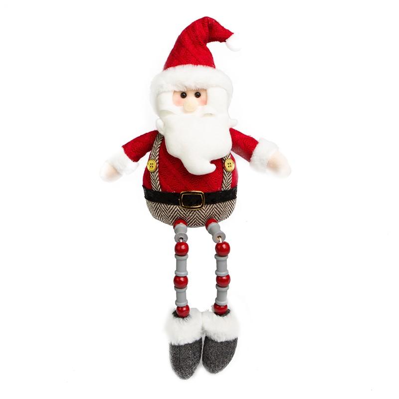 Papai Noel com Pernas de Miçangas Vermelho e Cinza | Linha Natal Encantado Formosinha