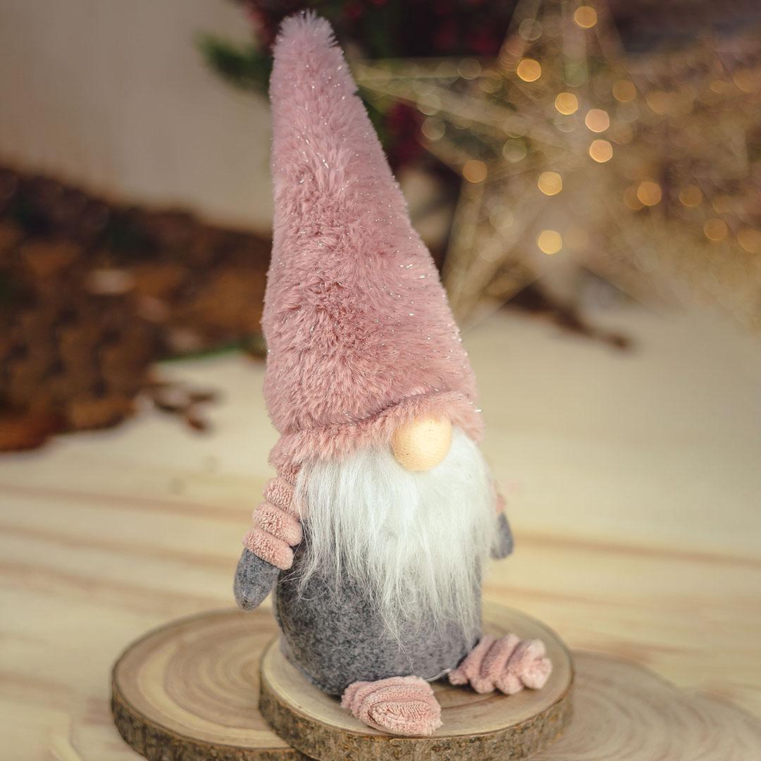 Papai Noel de Pelúcia 27cm Rosa e Cinza   Natal Formosinha