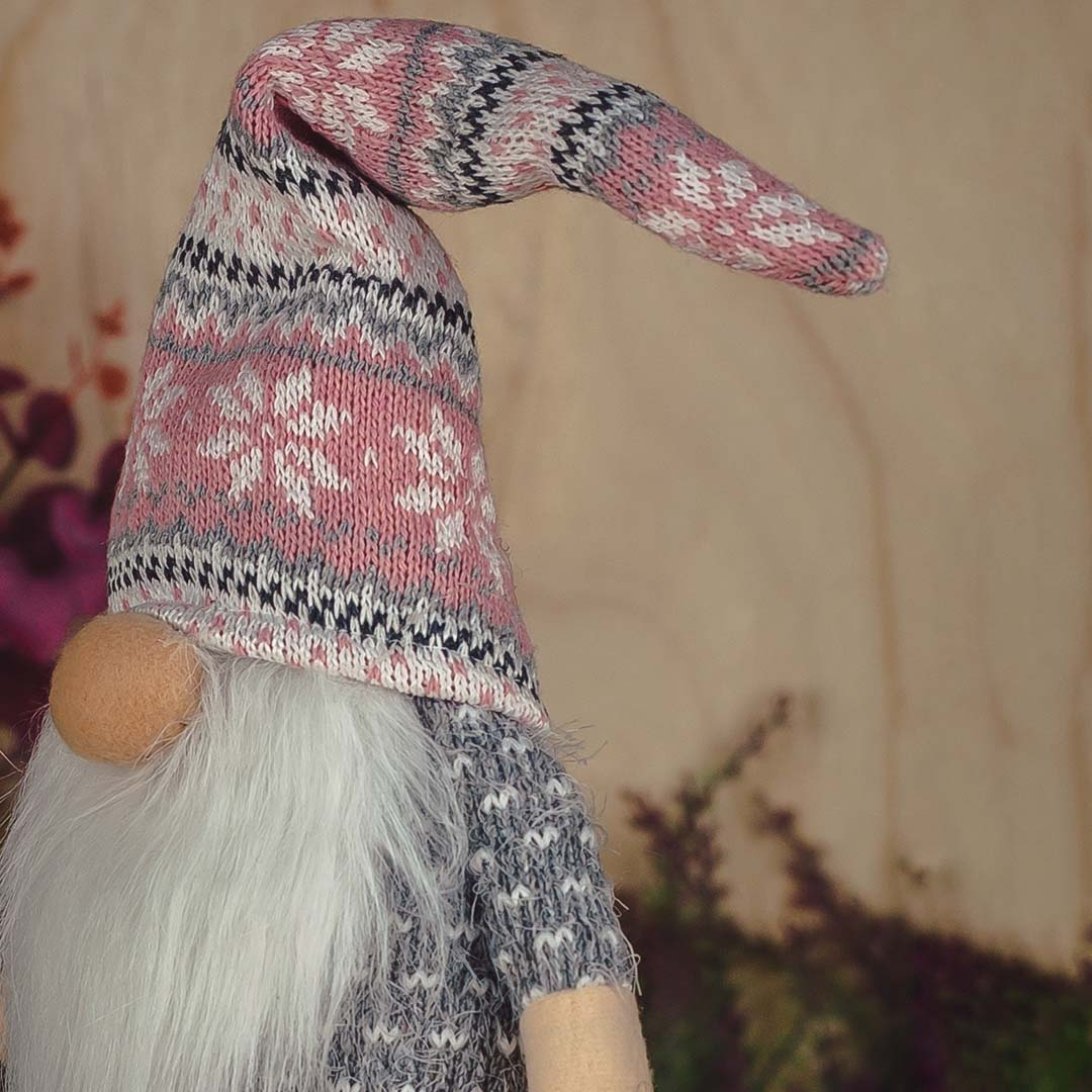 Papai Noel de Pelúcia 45cm Rosa e Cinza   Natal Formosinha