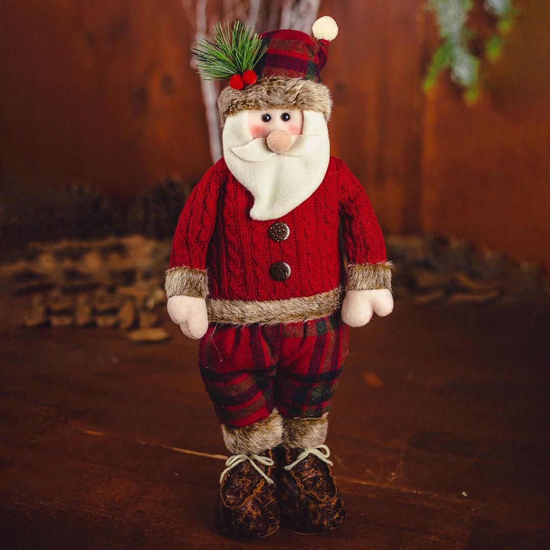 Papai Noel de Pelúcia com Calça Xadrez Vermelho 46cm | Natal Formosinha
