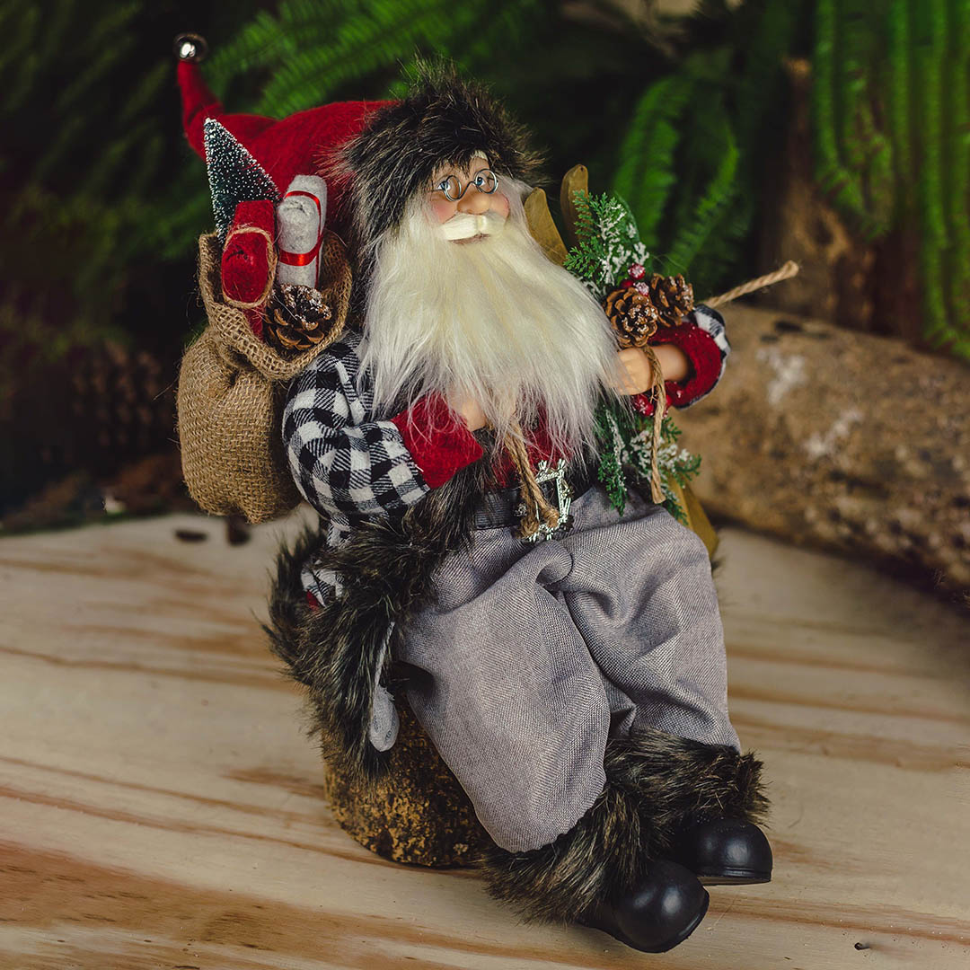 Papai Noel Esquiador Xadrez Sentado 45cm| Natal Formosinha