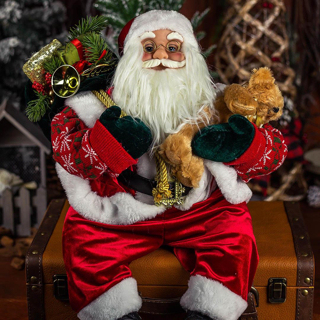Papai Noel Natal Sentado Vermelho com 45 cm | Natal Formosinha