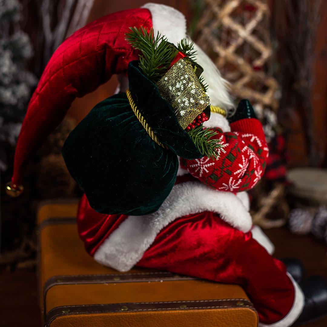 Papai Noel Natal Sentado Vermelho com 45 cm   Natal Formosinha