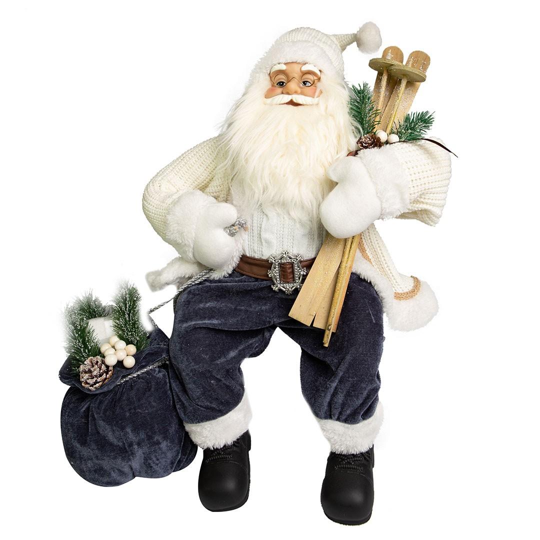 Papai Noel Esquiador Sentado Branco com 60cm de Altura| Linha Natal Encantado Formosinha