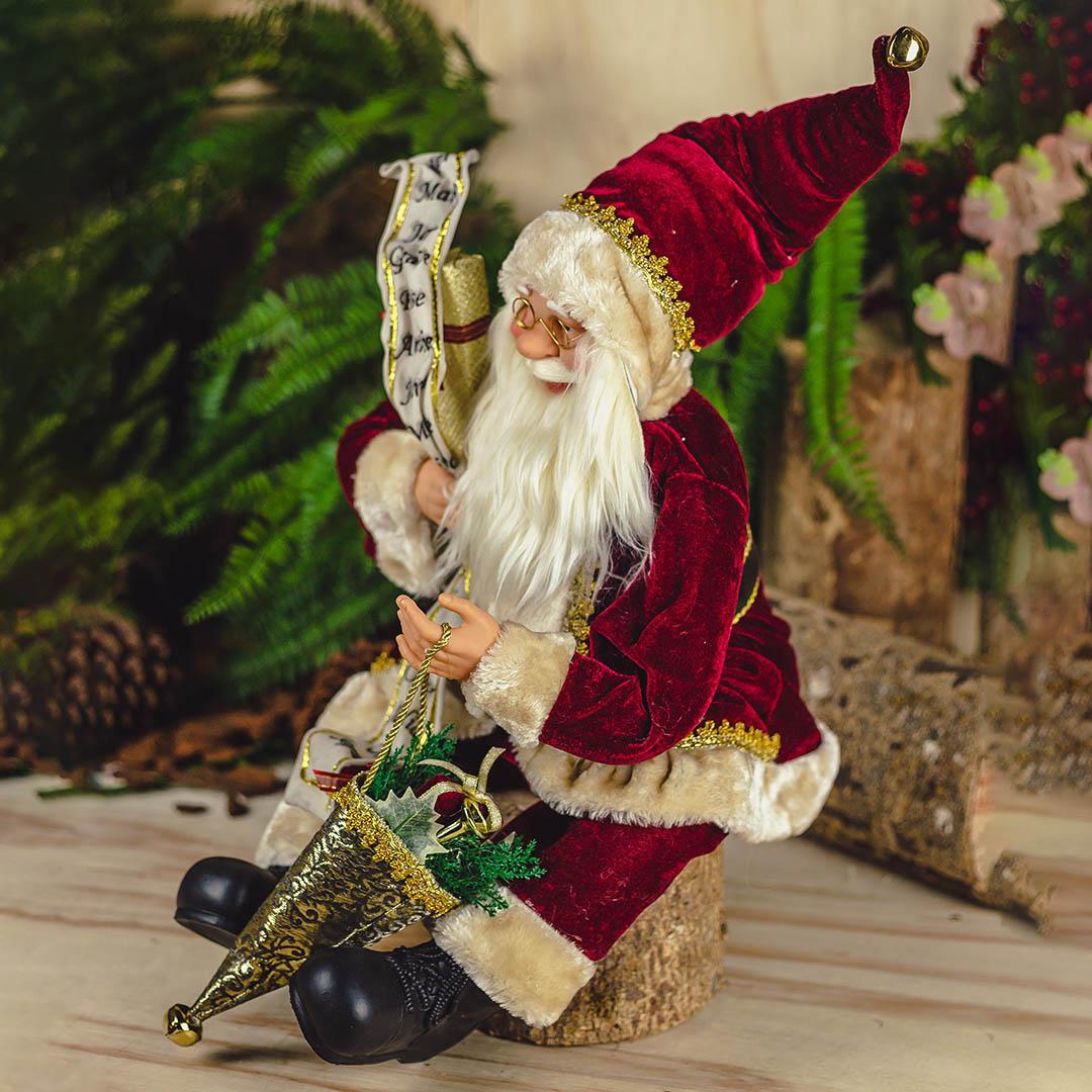 Papai Noel Sentado Lista Vermelho com 45 cm | Natal Formosinha