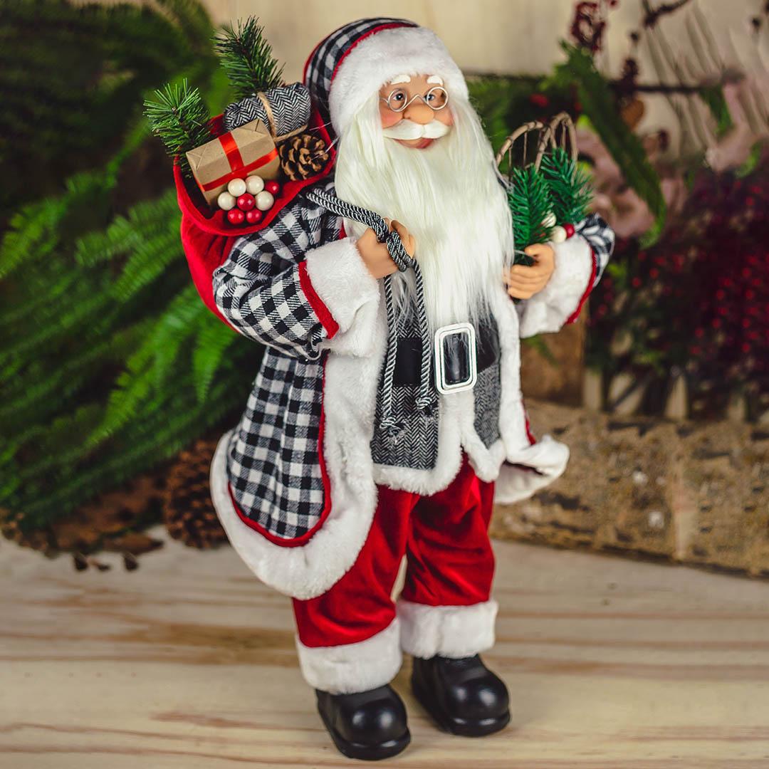 Papai Noel Vermelho e Xadrez 45cm| Natal Formosinha
