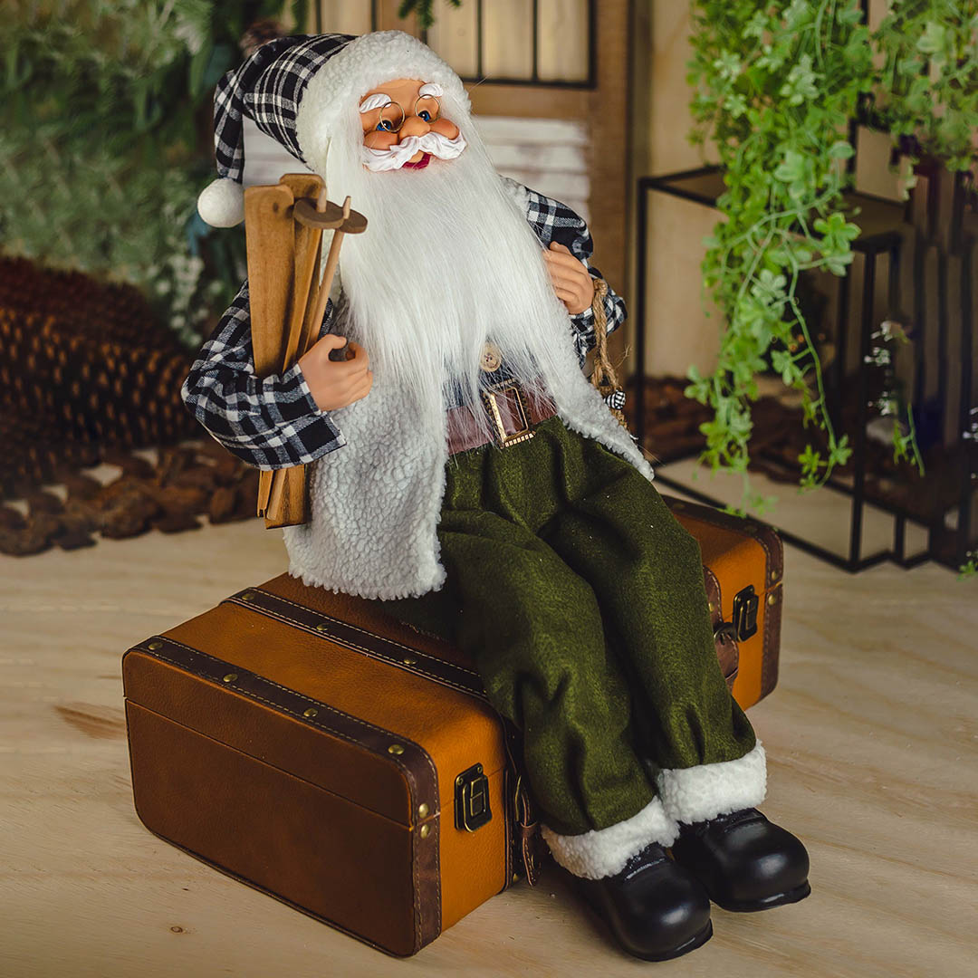 Papai Noel Xadrez Sentado com 45 cm | Natal Formosinha
