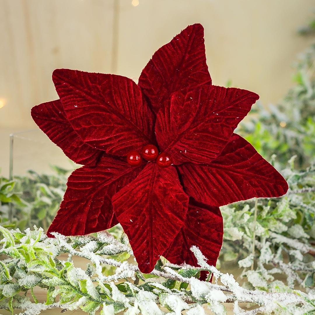 Flor de Natal Poinsetia Luxo Vermelha 23cm | Natal Formosinha