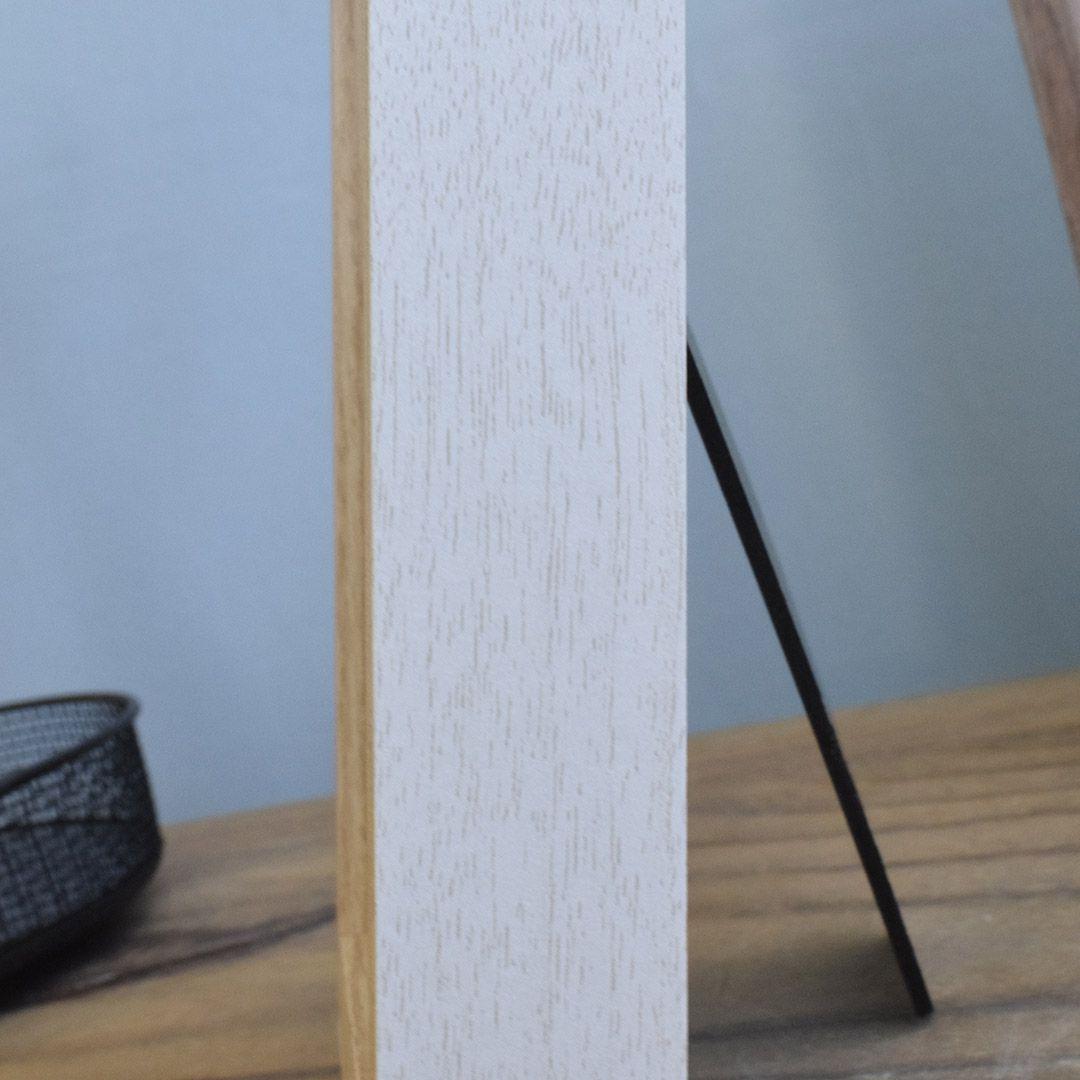 Porta Retrato de Madeira Off-White e Bege 13x18cm