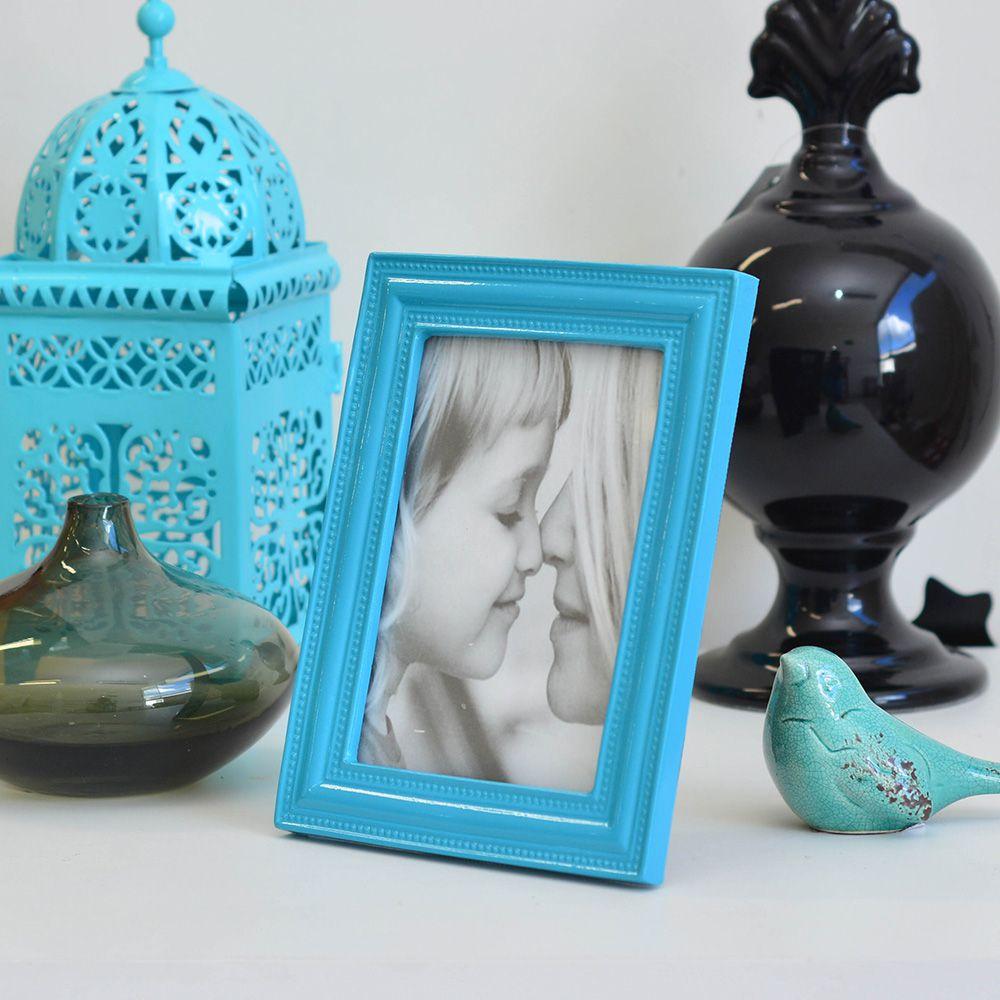 Porta Retrato de Resina Vert/Hor Azul Turquesa 10x15cm