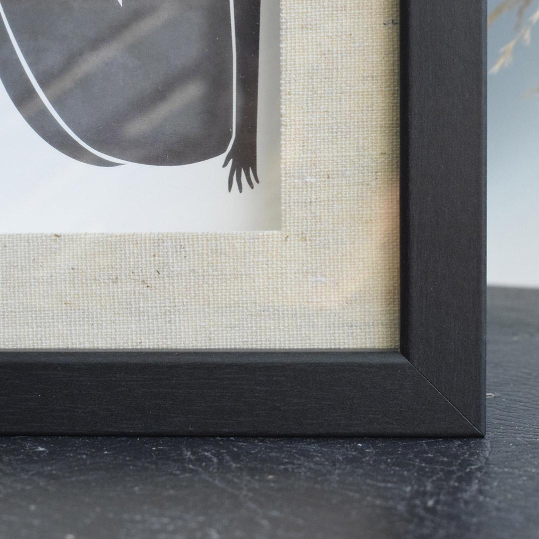 Porta Retrato Preto com Paspatur de Linho 10cm x 15cm