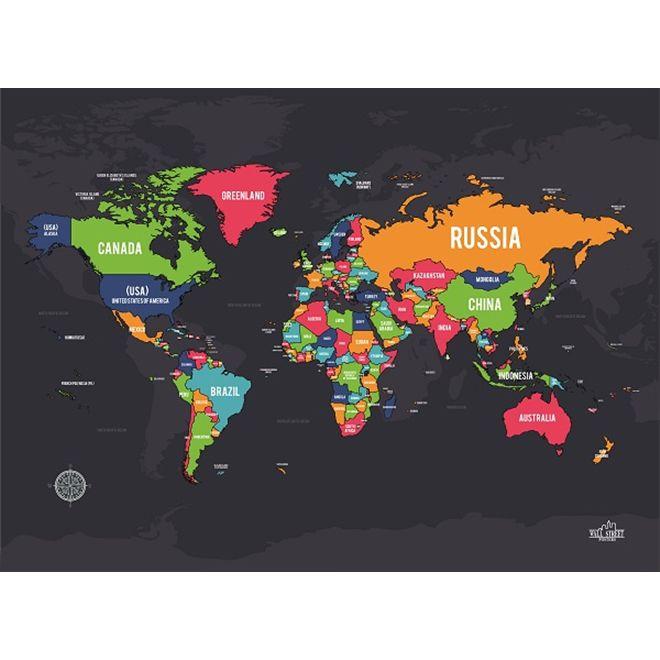 Quadro Mapa de Raspar Colorido