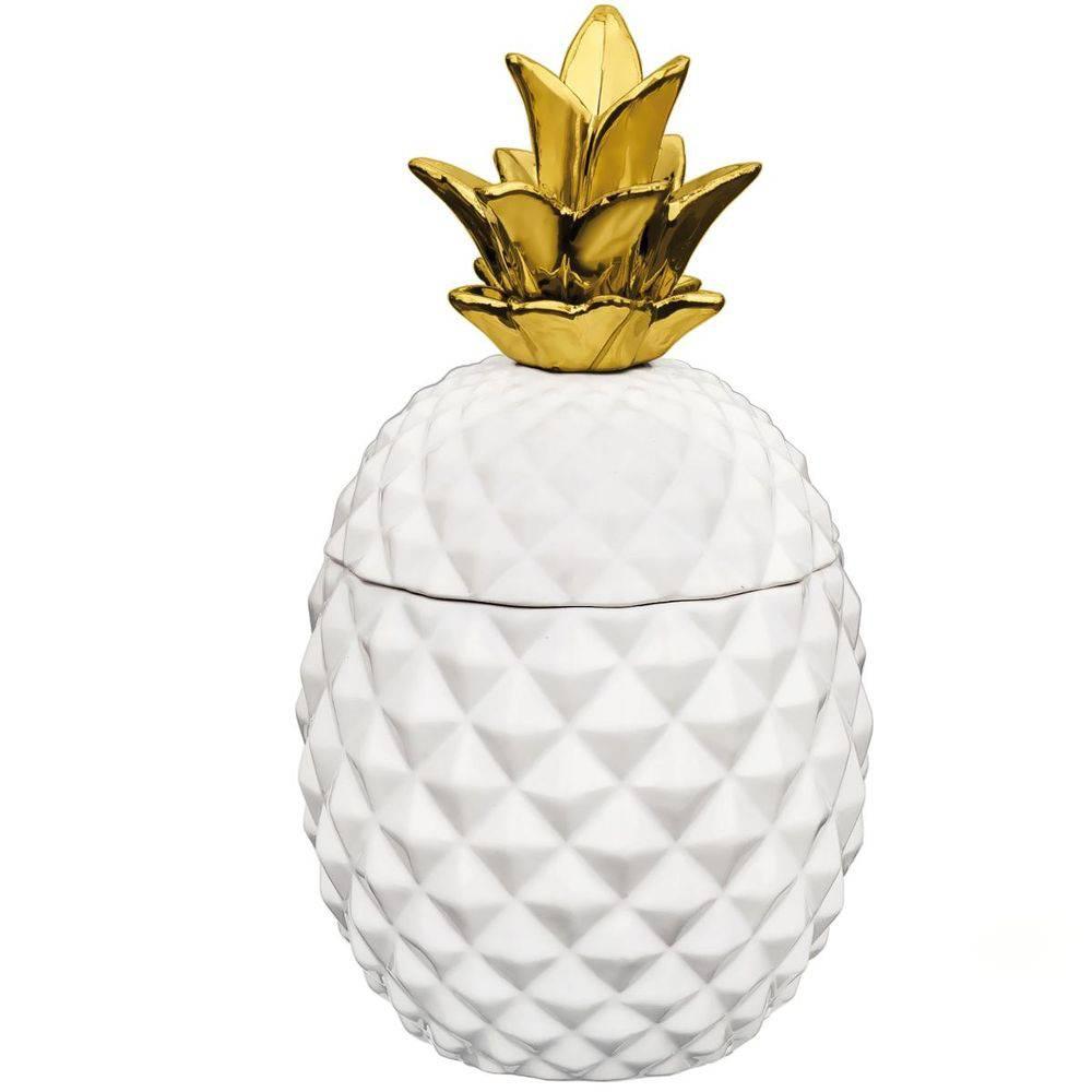 Pote Abacaxi Branco e Dourado Grande