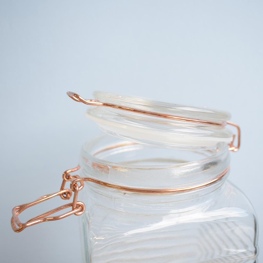 Pote de Vidro Hermético Rose Gold Grande 10x23,5cm