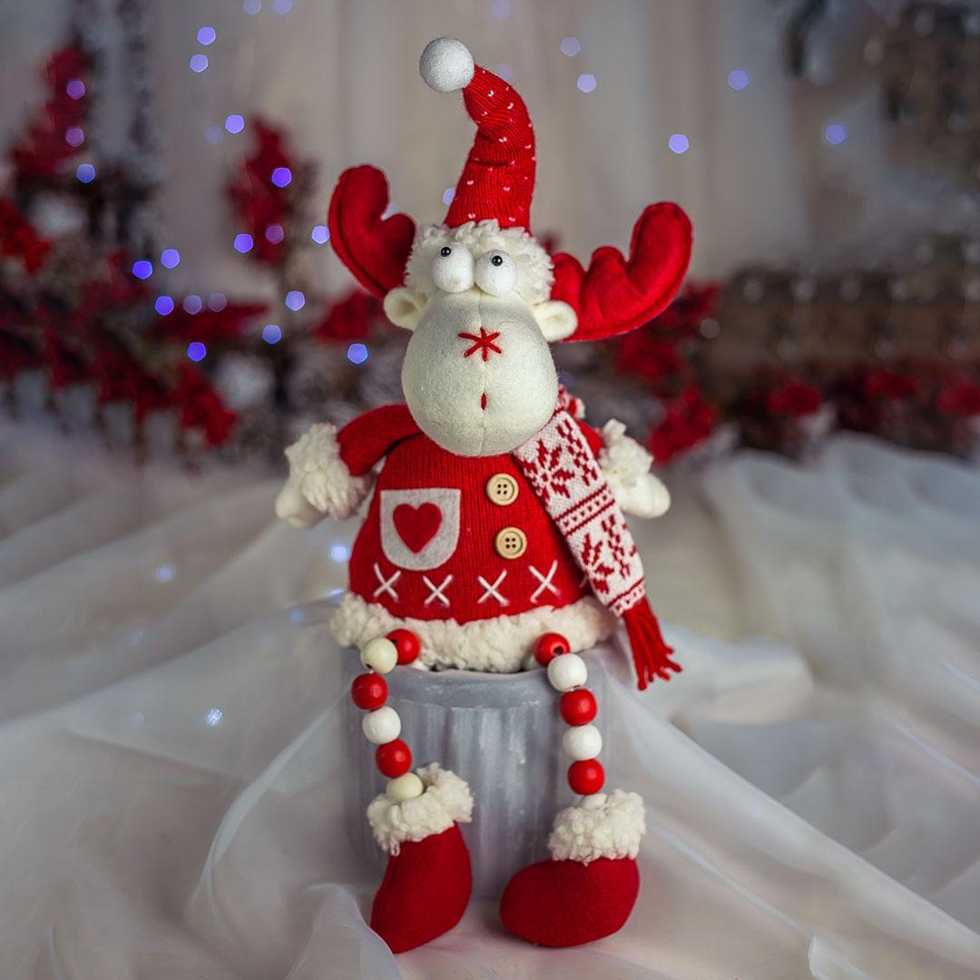 Rena com Pernas de Miçangas Vermelho e Branco | Natal Formosinha