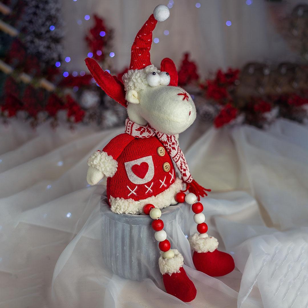 Rena com Pernas de Miçangas Vermelho e Branco   Natal Formosinha