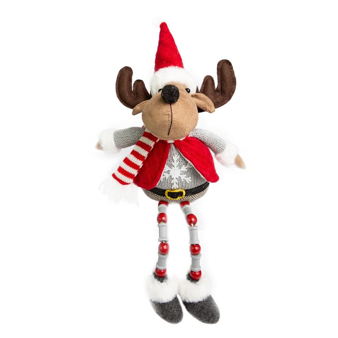 Rena com Pernas de Miçangas Vermelho e Cinza   Linha Natal Encantado Formosinha