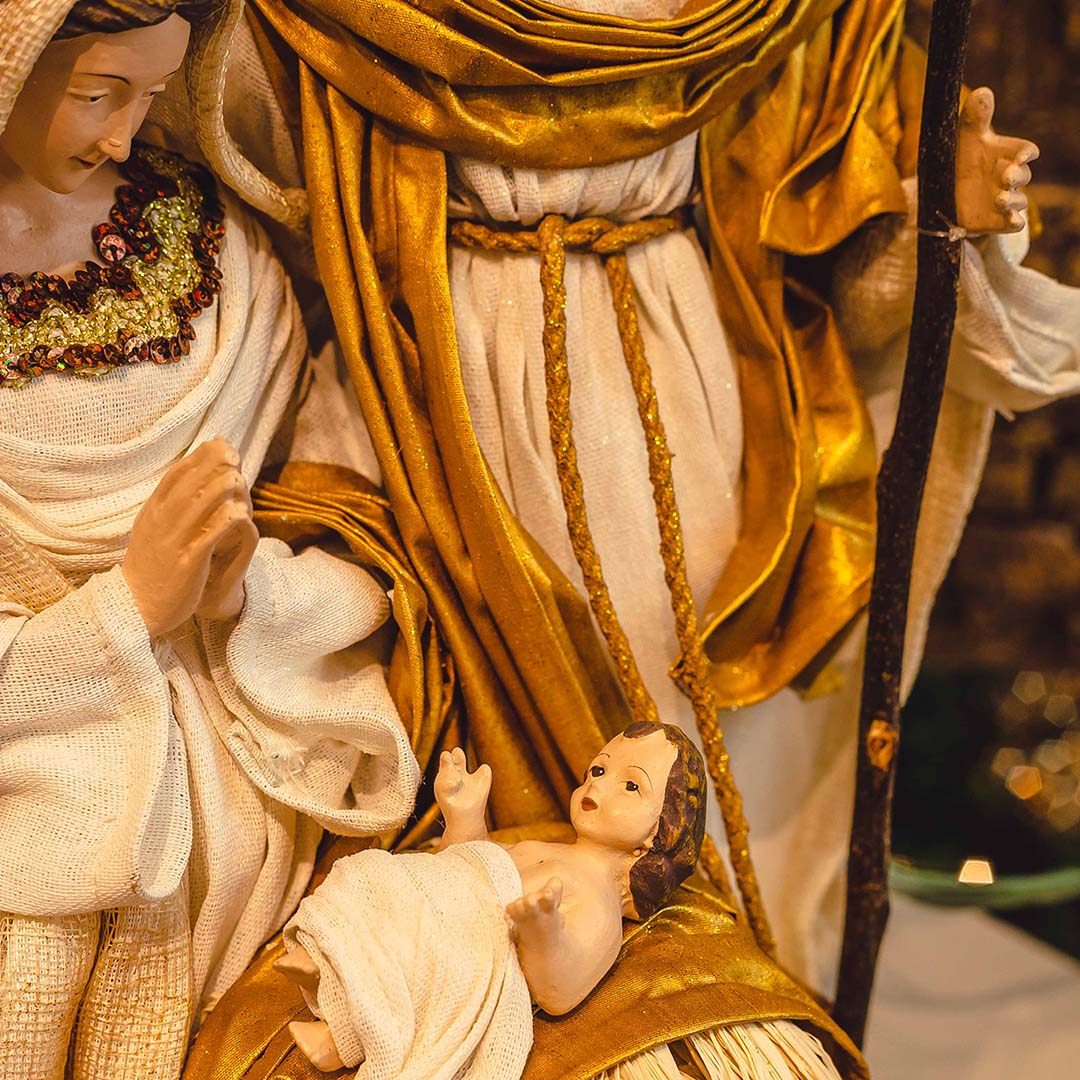 Sagrada Família Branco e Dourado 35cm | Linha Sacra Formosinha