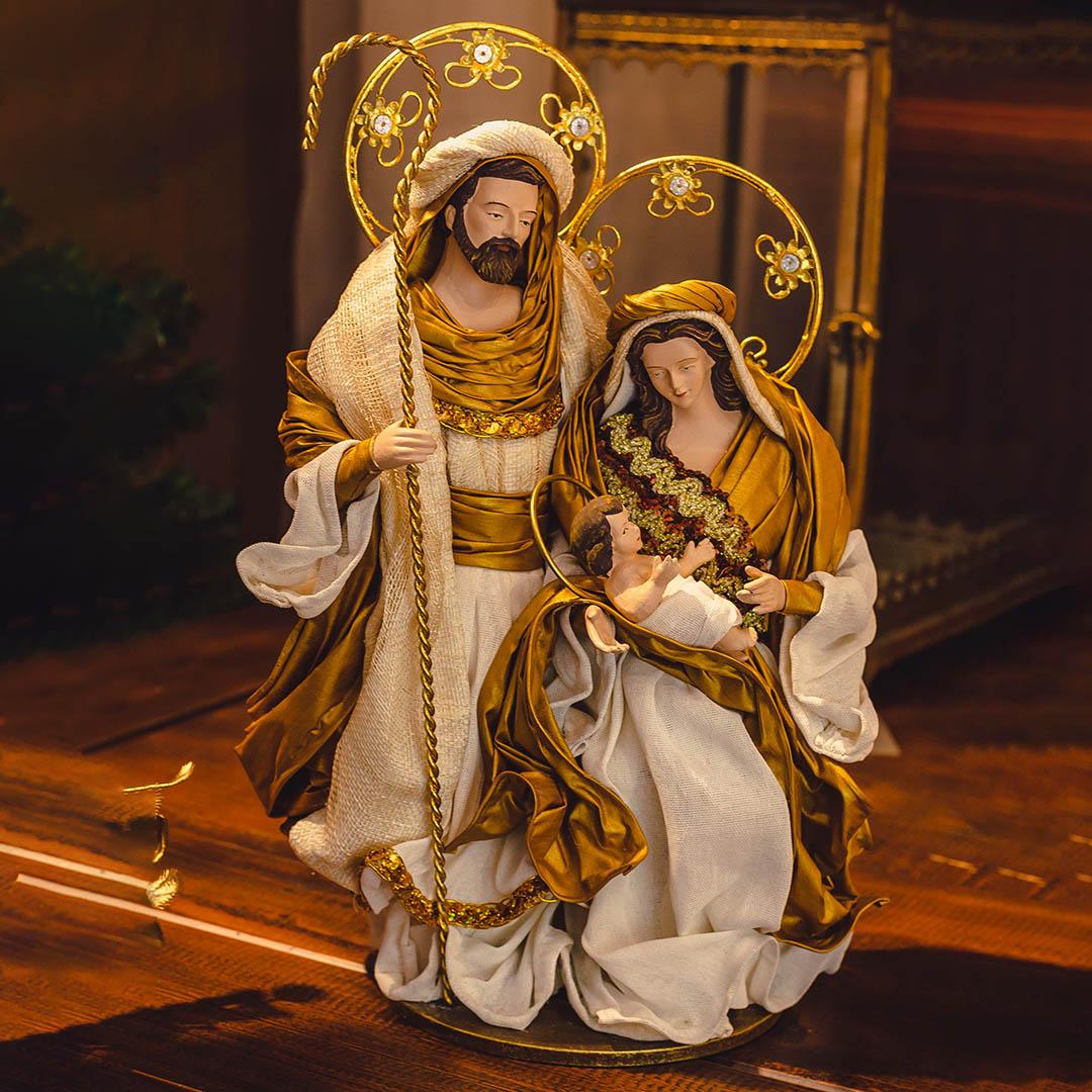 Sagrada Família Nude e Dourado 36cm | Linha Sacra Natal Formosinha