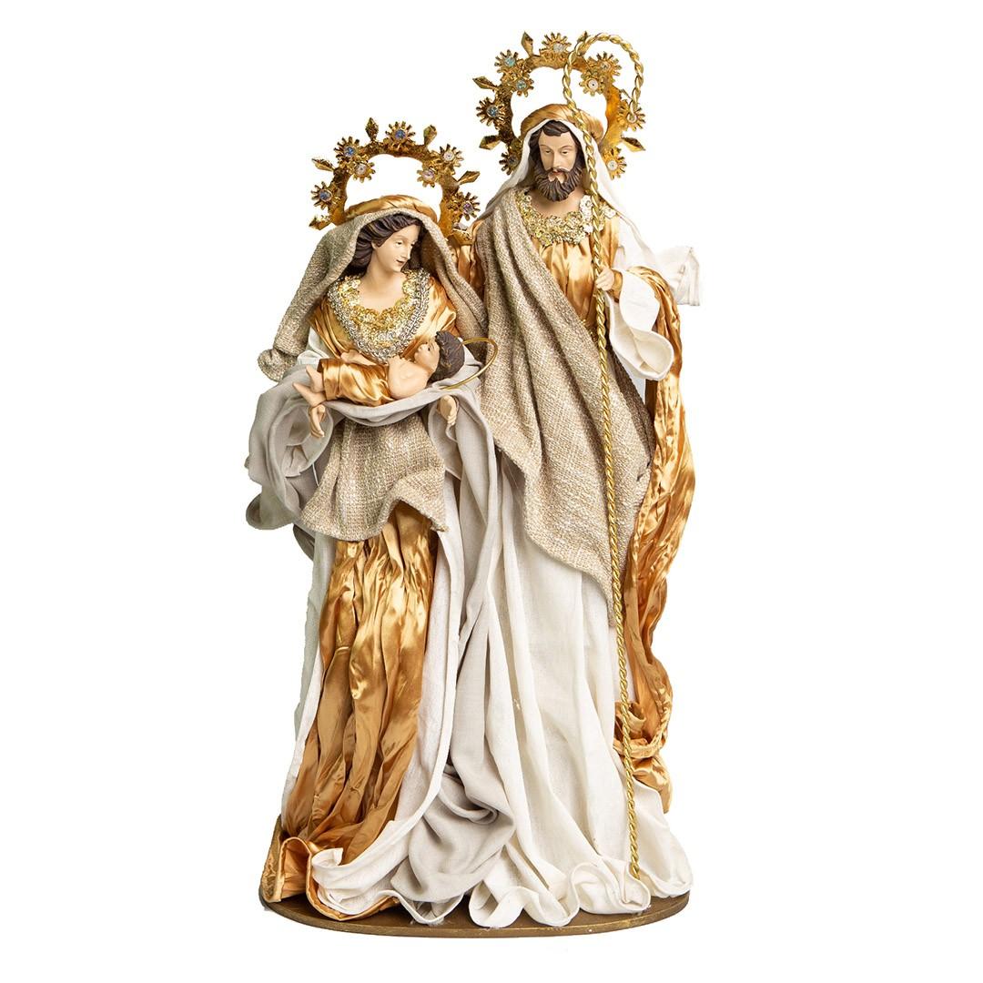 Sagrada Família Nude e Dourado 60cm | Linha Sacra Natal Formosinha