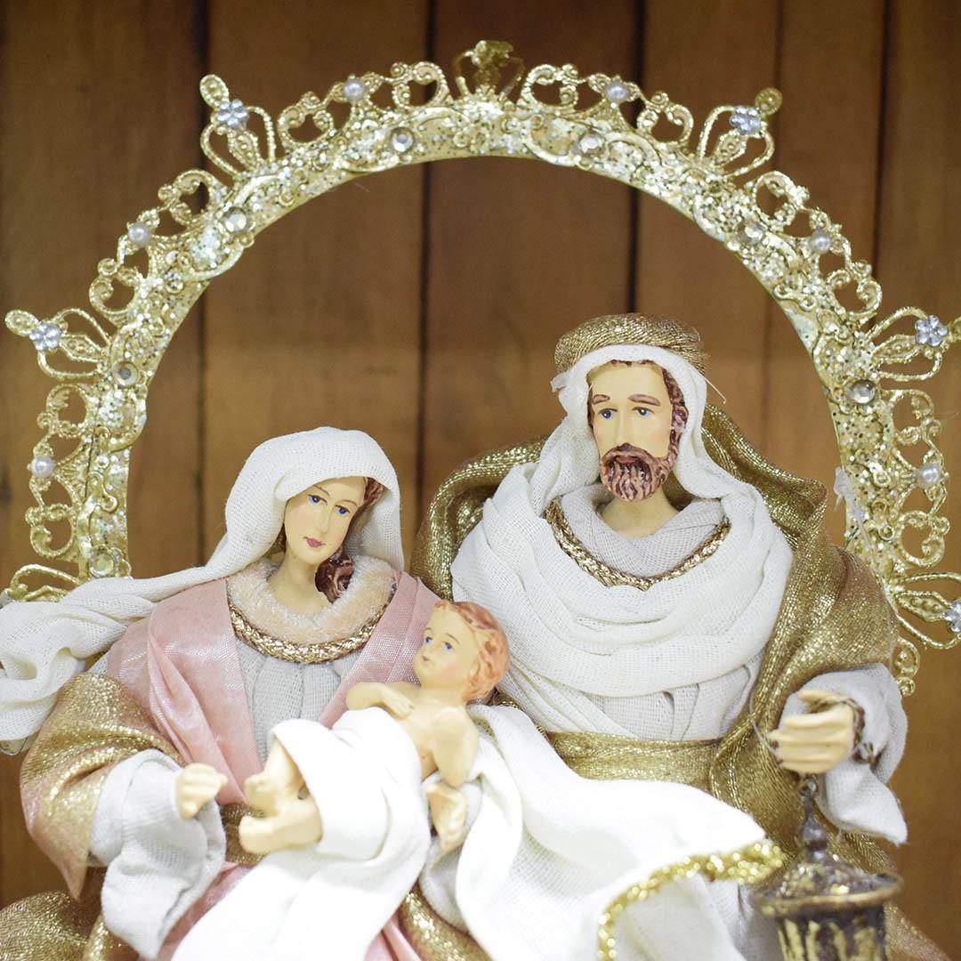 Sagrada Família Rose e Dourada 26cm | Linha Sacra Natal Formosinha