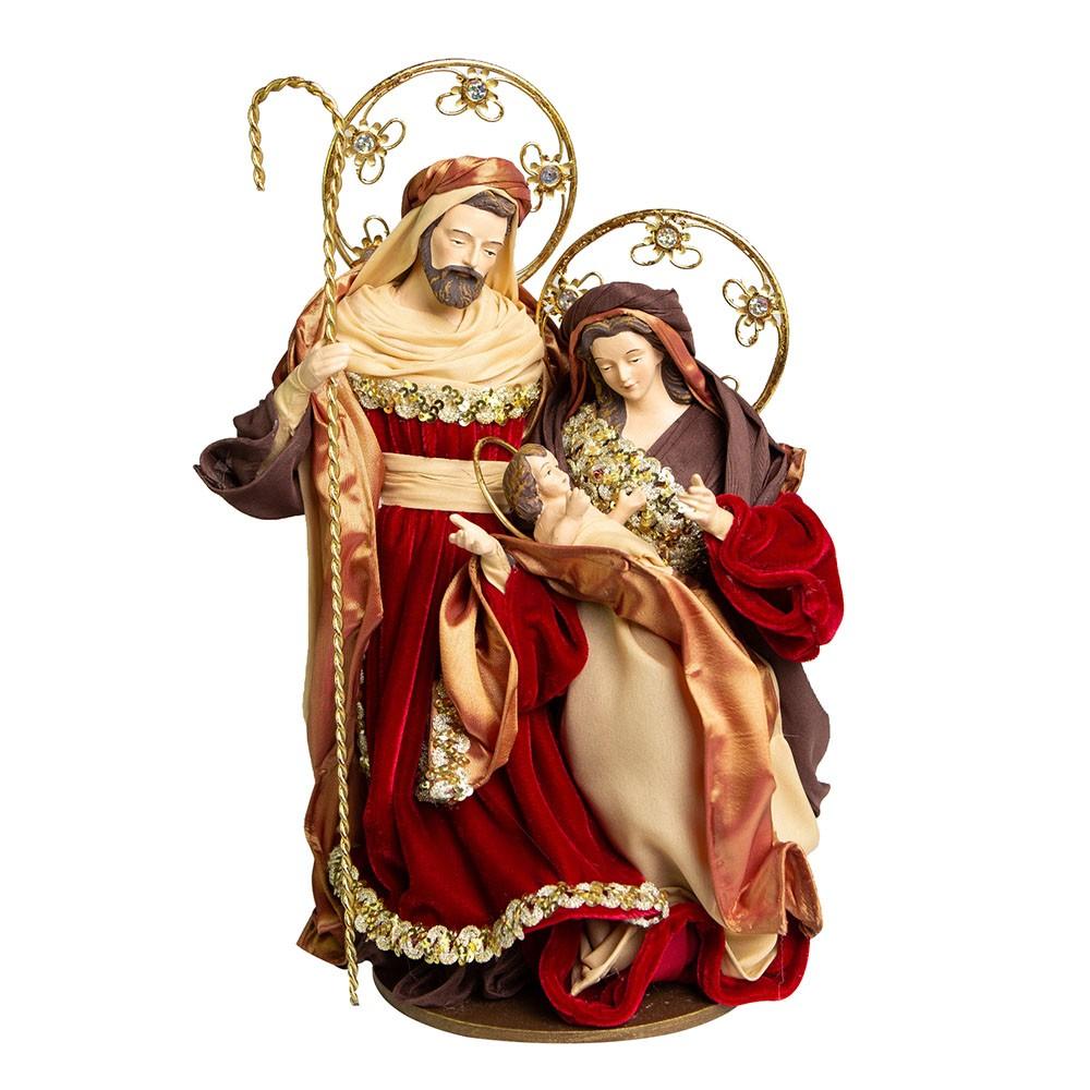Sagrada Família Vermelha e Dourada 37cm | Linha Sacra Natal Formosinha