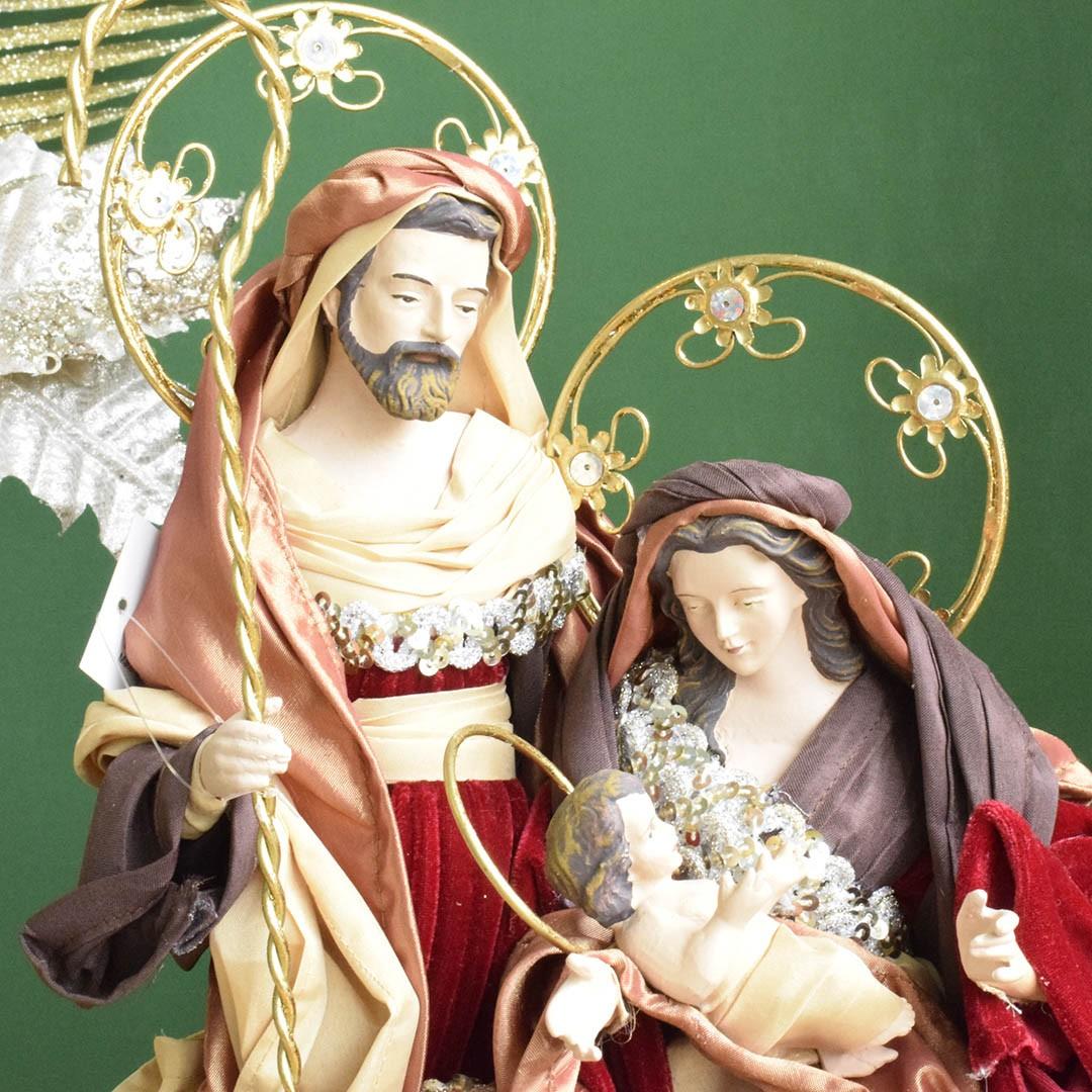 Sagrada Família Vermelha e Dourada 37 cm   Linha Sacra Formosinha