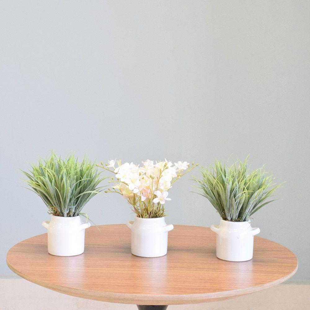 Flores Artificiais Conjunto com Três Mini Arranjos de Flor e Folhagem Artificial |Linha permanente Formosinha