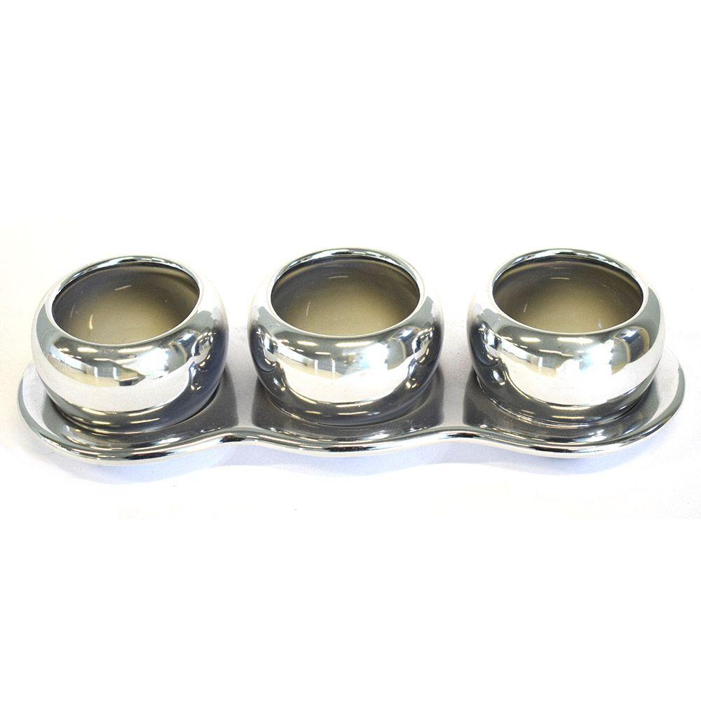 Trio de Vasos de Cerâmica Prateado