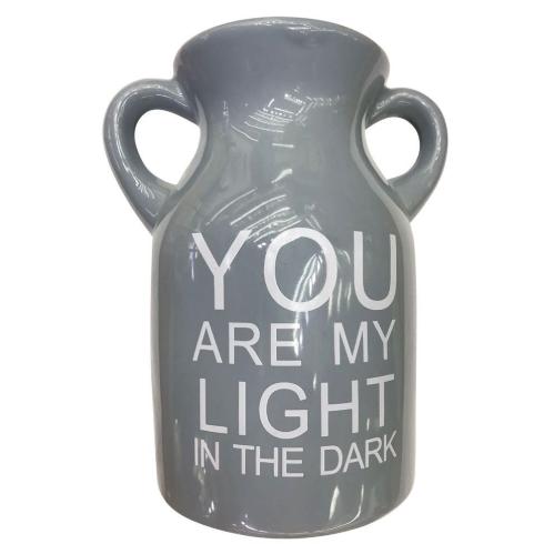 Vaso de Cerâmica com Alças Light Cinza