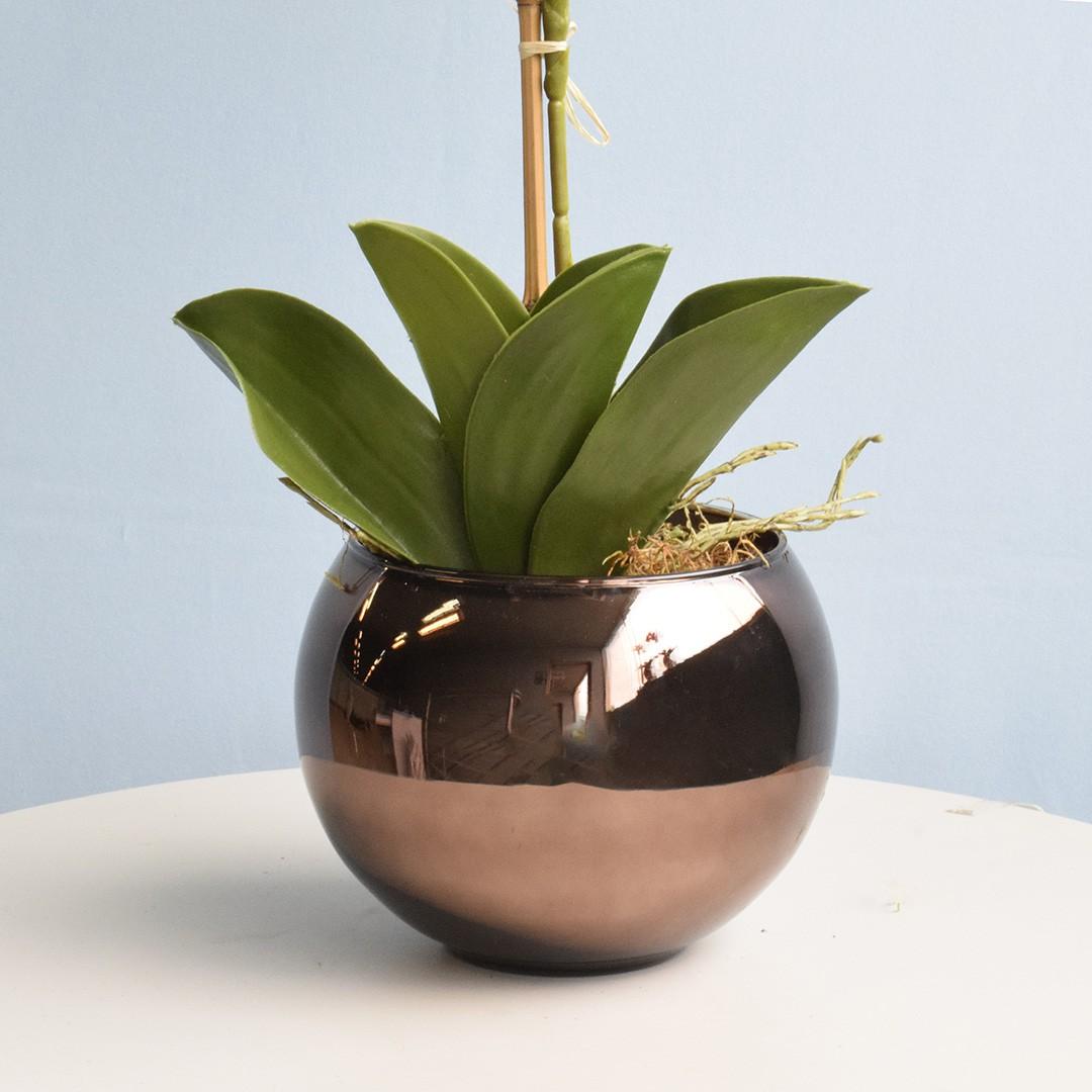 Vaso de Flores Bronze Redondo 13 cm | Linha Vasos Decorativos Formosinha