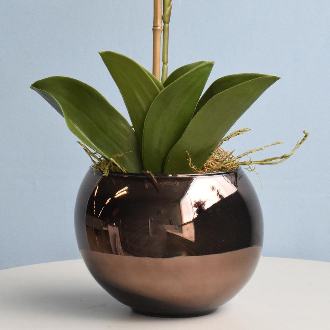 Vaso de Flores Bronze Redondo 17 cm | Linha Vasos Decorativos Formosinha