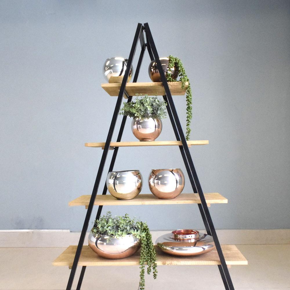 Vaso de Flores Decorativo Terrário Prateado | Linha Decorações Formosinha