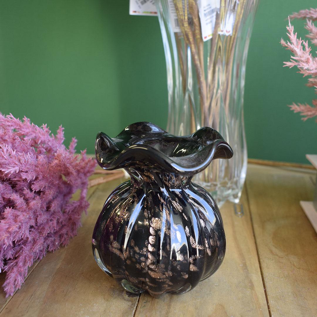 Vaso de Flores Trouxinha Preto e Rose Gold 10cm | Linha Vasos Decorativos Formosinha