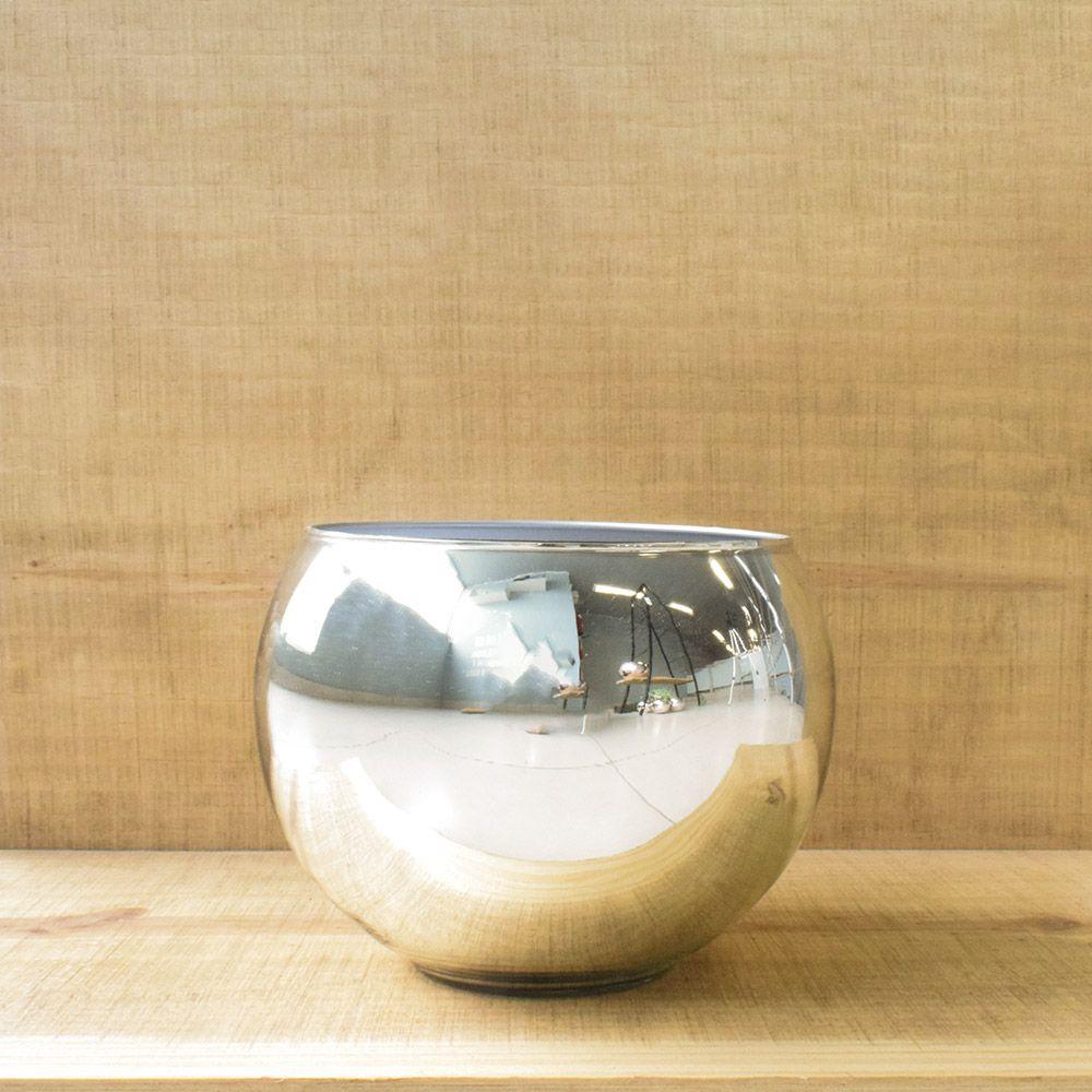 Vaso de Flores Prateado Redondo 13cm | Linha Vasos Decorativos Formosinha
