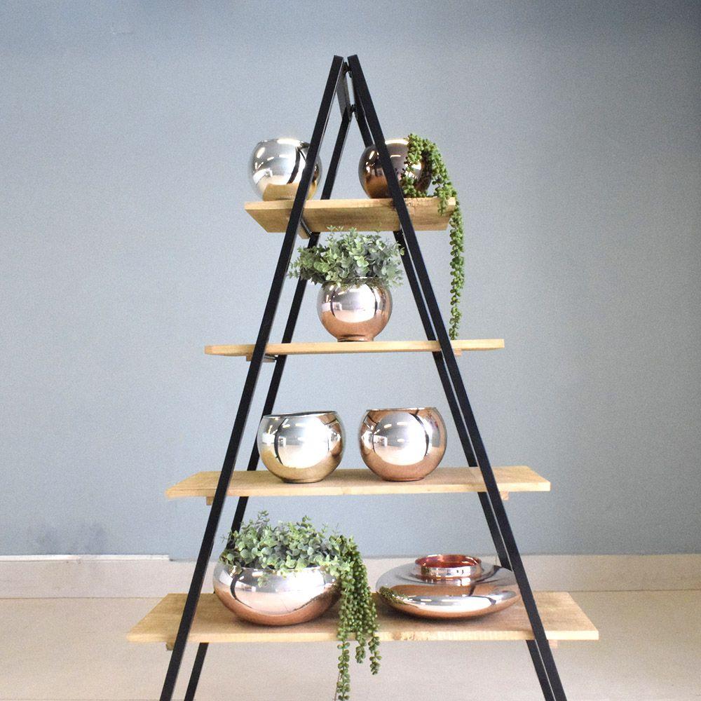 Vaso de Flores Prateado Redondo 13 cm | Linha Vasos Decorativos Formosinha
