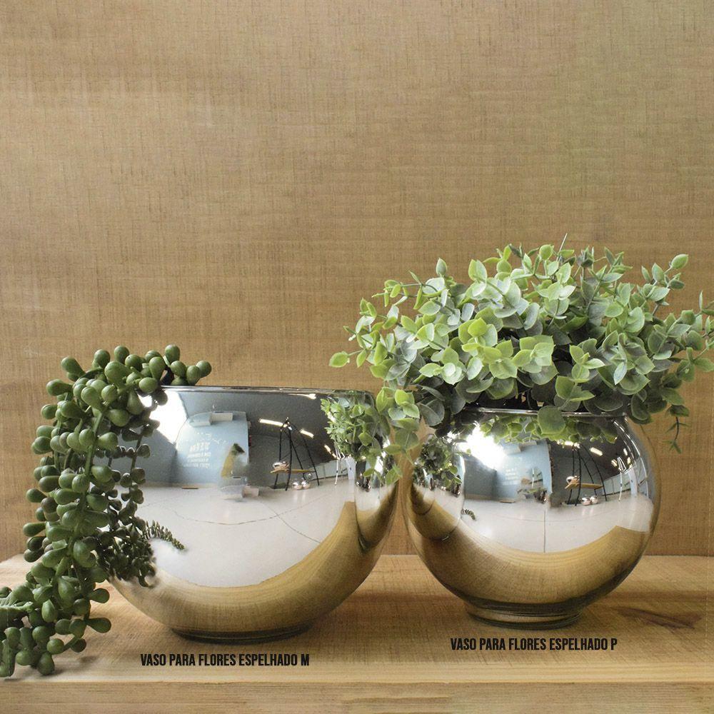 Vaso de Flores Prateado Redondo 17 cm | Linha Vasos Decorativos Formosinha