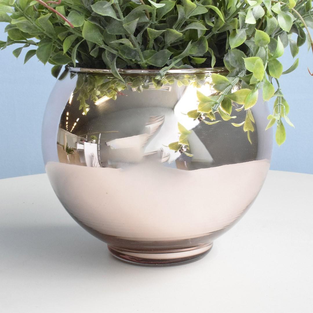 Vaso de Flores Rose Gold Redondo 13 cm | Linha Vasos Decorativos Formosinha