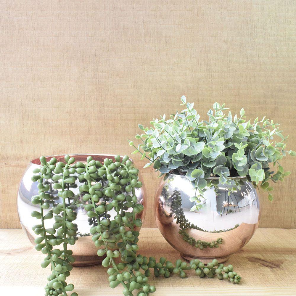 Vaso de Flores Rose Gold Redondo 17 cm | Linha Vasos Decorativos Formosinha