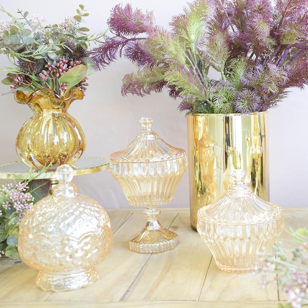 Vaso de Flores Tubo 15x20 cm Dourado | Linha Vasos Decorativos Formosinha