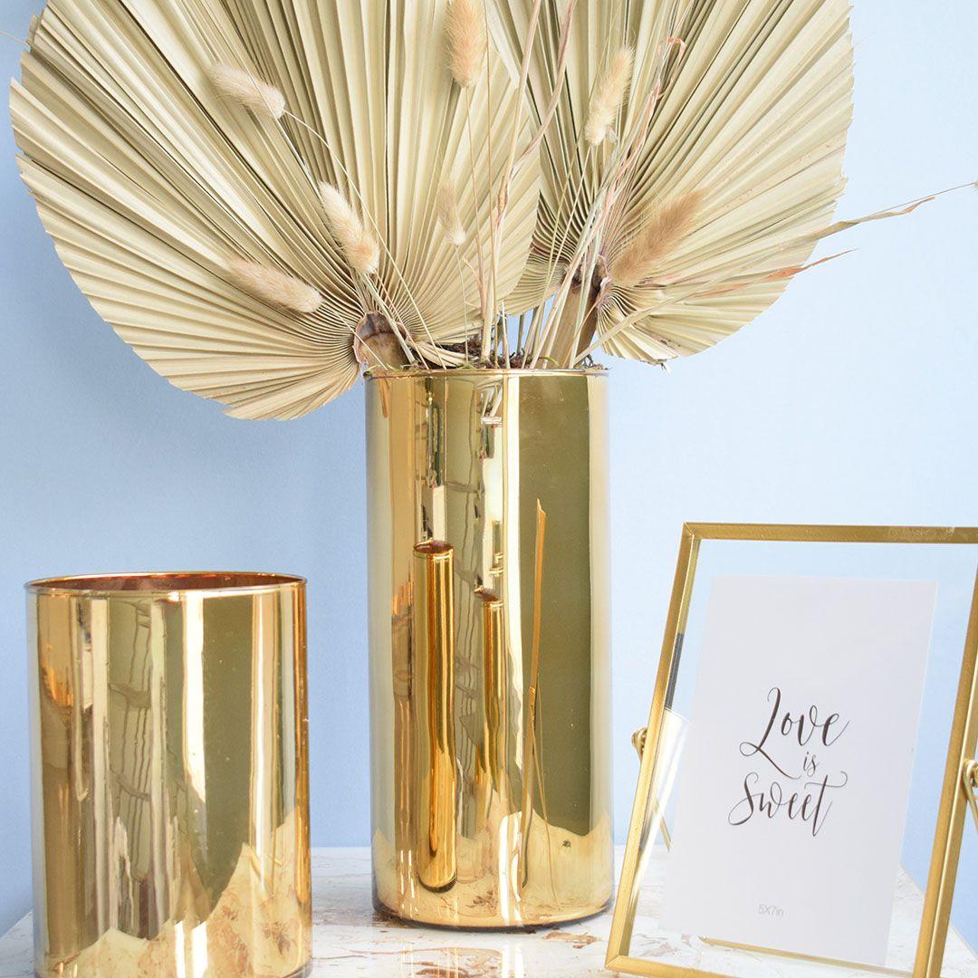 Vaso de Flores Tubo 15x30 cm Dourado | Linha Vasos Decorativos Formosinha